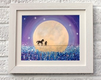 Unicorn Friend,Fine Art, Giclee Mounted Print.