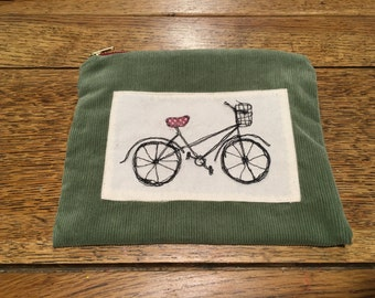 Freehand embroidered one off bicycle bag