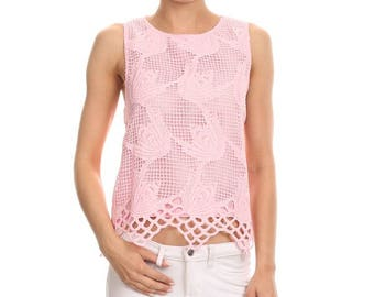 Crochet Laced Trimmed Cropped Top / TP-F1015