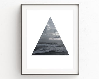 Monochrome Wall Print, Ocean Water Wall Art Print, Printable Decor, Seascape Wall Print, Bali Photo, Triangle Wall Print, Ocean Water Waves