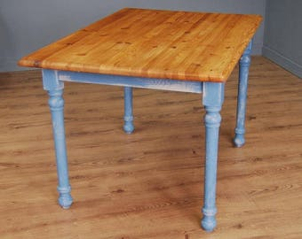Country Kitchen Solid Pine Up-Cycled Shabby Chic Dining Table
