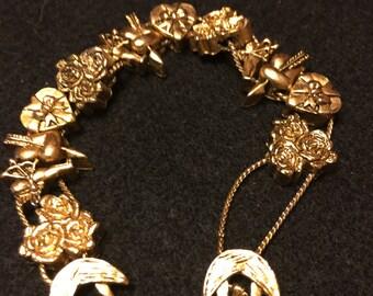 Vintage Valentine's Slide Charm Bracelet