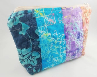 BATIK QUILTED Assorted Colors Cosmetic bag | Travel Size bag | Zipper Pouch | Makeup bag