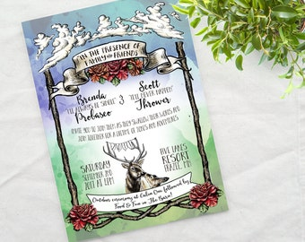 Watercolor Deer Hand Drawn Invite