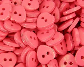 10 x Heart Buttons Coral Pink  2 holes  Card Craft Sewing Valentine Knitting B110