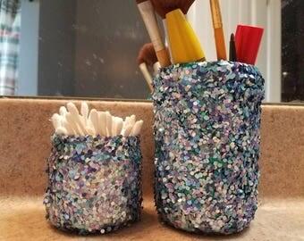 Mermaid decor, mermaid decorations, mermaid jars, beach decor, mason jar decor, mason jars, glitter jars, bathroom storage,mermaid bathroom