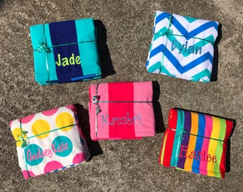 Personalized Beach Towels, Monogrammed beach towel, girls beach towel, beach accessories, birthday gift, bridesmaid gift, kids towel