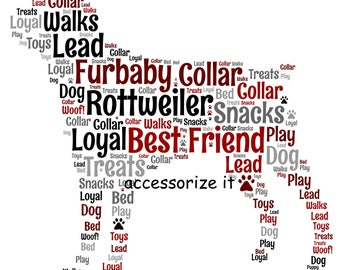 A4 or 5x7 Size Personalised Rottweiler Rottie Word Art Print - Pet Memorial *Digital File Also Available*