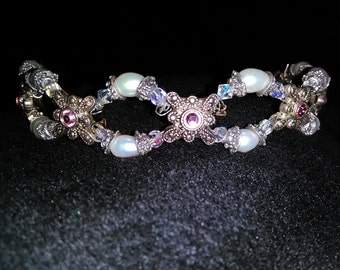 Freshwater pearl and Swarovski crystal headband/tiara
