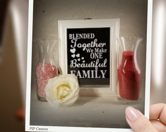 Blended Together we make one Beautiful Family, Unity sand ceremony shadow box