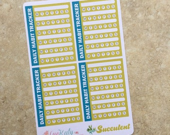 SUCULENT:  Daily Habit Tracker Sticker - Functional Repositionable Planner Stickers inkWELL Press Dreamsicle LucKaty
