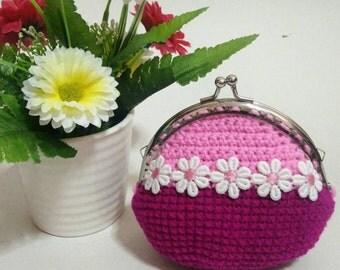 Crochet coin purse,coin purse, frame coin purse,gift for her,crochet wallet