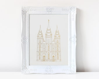 Salt Lake City Temple - Hand Drawn - REAL FOIL - Gold Foil Print - LDS - Illustration - Utah - Mormon - Home Decor - Temple - Salt Lake