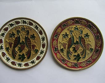 Vintage set of two, a pair, of small circular enamelled gilt bronze wall plaques, Collectable finely detailed 1970's wall hanging peacocks