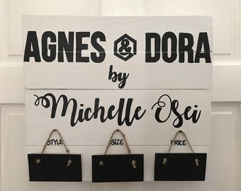 Agnes & Dora Custom Handmade Wooden Stained Painted Sign Wall Hanging w/ Style, Size, and Price Plaques