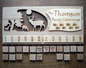 Personalised Wooden Family Birthday Board, Hand Crafted Family Birthday Calendar, Family Celebration Sign, Anniversaries, Handmade Sign