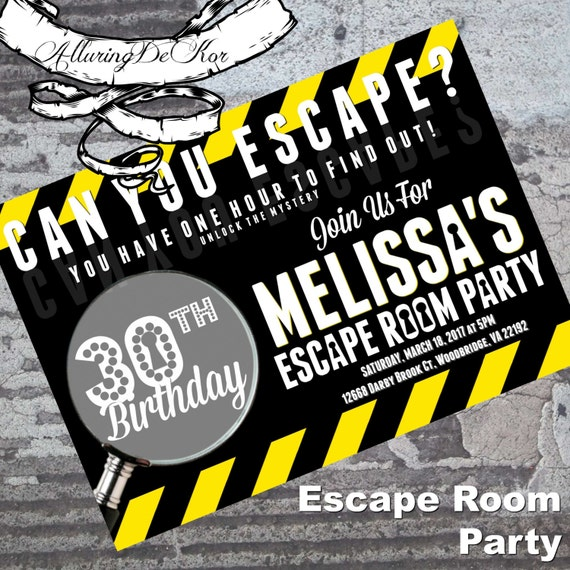 Escape room party invitation for Escape room party