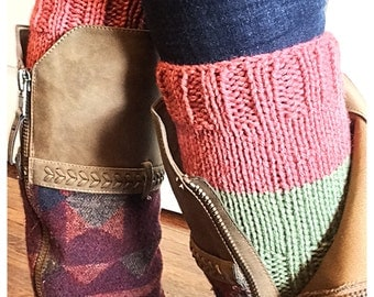 Boot Cuffs, Boot Socks, Knit Boot Cuffs, Knit Boot Socks, Reversible Boot Cuffs, Reversible Boot Socks, Pink and Green Boot Cuffs