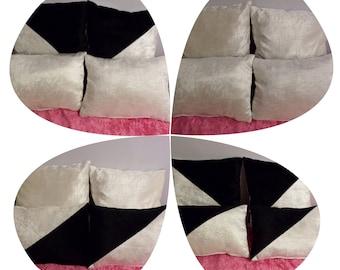 Black & Ivory Crushed Velvet Cushion Set
