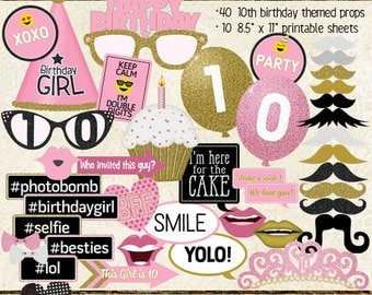 Photo Booth Props, HAPPY 10TH BIRTHDAY, girl, printable sheets, instant download, pink, gold, party