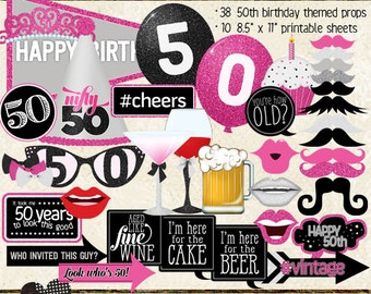 Photo Booth Props, HAPPY 50TH BIRTHDAY, printable sheets, instant download, hot pink, black, silver