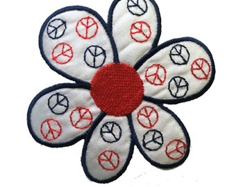 Vintage Flower and Peace Signs Patch