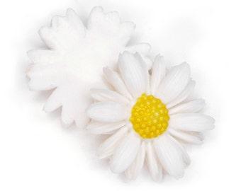 Vintage Daisy Flower Cabochon, aceteloid, 1960s, Japan - 30 mm - 12 pcs - C66-7