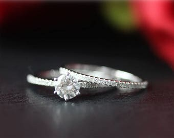 unique wedding ring set 5mm forever one moissanite engagement ring diamond band 14k gold moissanite - Unique Wedding Ring Sets