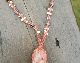 Sunstone macrame wrapped crystal necklace