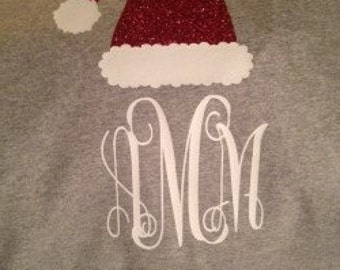 Grey Santa Hat with Monogram for Adults