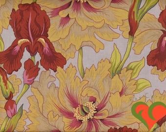 Kaffe Fassett Collective Philip Jacobs Iris & Peony Ochre Fabric PJ43 Half Yard. Retired. Rare. OOP. HTF.