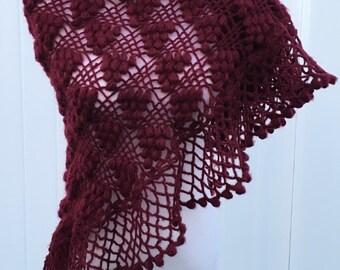 Burgundy  Color Shawl,Wedding Shrug,Bridal Bolero,Crochet Shawl,Bridal Shawl,Wedding Cape,Winter Wedding Cover Ups,Fall Wedding Shawl,