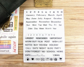 Clear Stamps - Month,Weekly & date, journal planning stamps, journal / planner supplies, transparent stamps, number stamps , diary stamp set