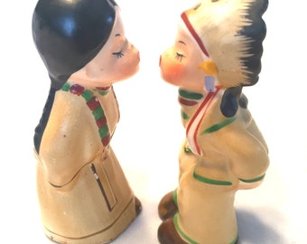Vintage Kissing Salt and Pepper Shakers Native American Indian 1950's