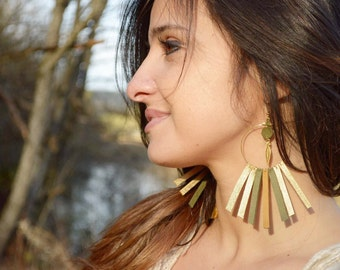 Earrings Creole fringes, Bohemian, lambs leather and fine gilded brass