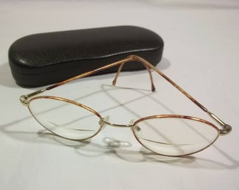 Vintage Eyeglasses Brown/Gold Glasses Tortoise Eye Glasses Metal Eye Glass Frames Fashion Accessories Womens Eyeglasses E1 MA7123