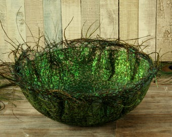 Decorative bowl, peacock gift, home decor, fiber art, decorations, green, textile art, embroidery, trinket dish, housewarming gift, unusual
