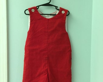 4T, Vintage Classic Baby Clothes, Red Corduroy Jon Jon Short-all with Back Belt Detail