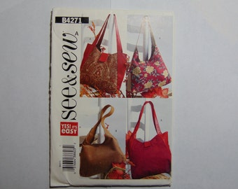 See and Sew Sewing Pattern B4271 Handbags in 2 Styles