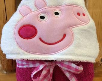 Peppa Pig look a like hooded towel