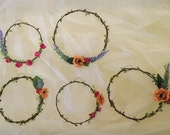 Flower circlet set of 5, Hippie wedding decor, Boho aisle decor, Floral wall hang, Flower hoops wall hang, canopy backdrop, woodland decor.