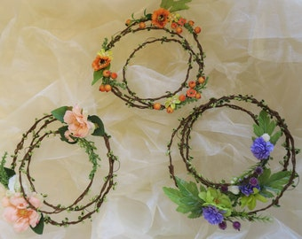 Flower circlet set of 3, Choose your color, Aisle decor, Floral wall hang, Flower hoop wall hang, wedding canopy backdrop, woodland decor
