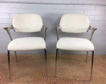 Francesco Zaccone Anodized Cast Aluminum Chairs with Birdh Wood Arm Rests