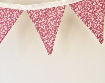 Bunting Fabric Cotton Flag Bunting Party Birthday Baby Shower Wedding Nursery Home Decor Floral Shabby Chic Pink Red Made in Canada
