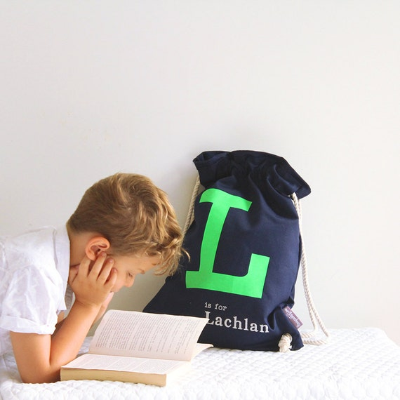 Library bag Navy with Lime Green letter, Personalised Kids Bag, personalized bag, drawstring bag, childs bag, daycare bag,