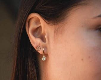 Cz hoop earrings - dainty hoop earrings - huggie hoops - hoop earrings - minimalist hoops - gold hoop earrings - gold hoops - tiny earrings