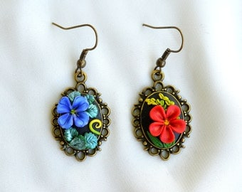 Miniature polymerclay artwork with polymerclay,Unique earrings in retro and etno style with flowers on carbochon brass.
