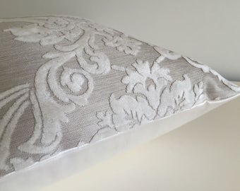 Pillow Cover White Velvet Damask