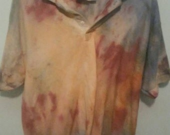 Men's Rustic Earth Tie-dye Polo, Size XL, Free Shipping