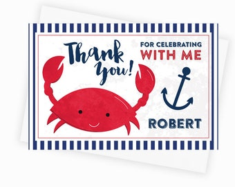 Personalized Crab Printable Thank You Card, Nautical Crab Thank You Note Card, Crab Party Printable, 4x6 Custom Thank You Card